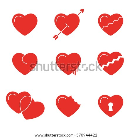 heart line icons vector symbols  - stock vector