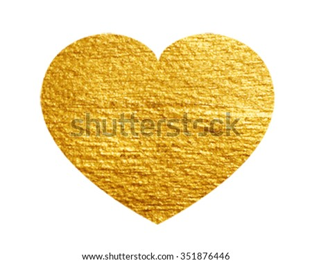 Heart Love Gold Watercolor Texture Paint Stain. Golden design element. Vector - stock vector
