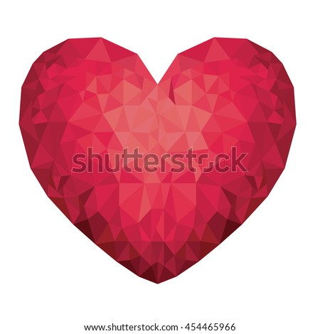 heart low poly isolated icon design, vector illustration  graphic  - stock vector