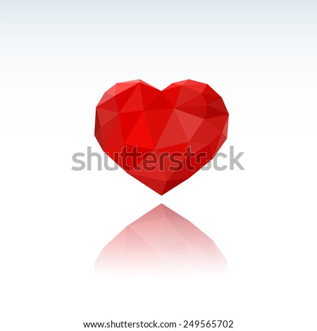 Heart Low Poly with Reflection. Romantic background for Valentines day. - Valentine Heart Symbol - stock vector