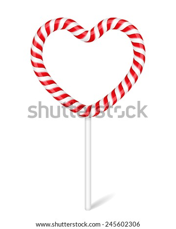 Heart made of candy cane, vector eps10 illustration - stock vector