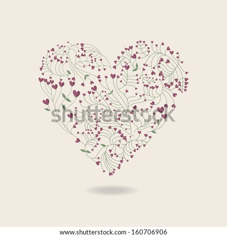 Heart made of flowers - stock vector