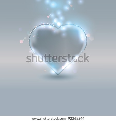 Heart made of glass on silver background, eps10 vector illustration - stock vector
