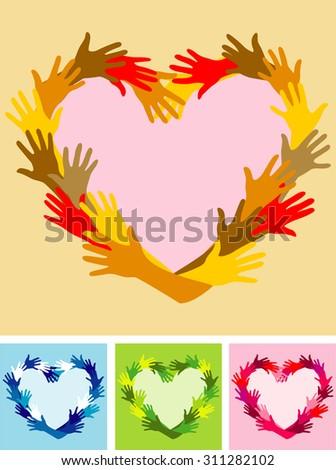 Heart made of hands - stock vector