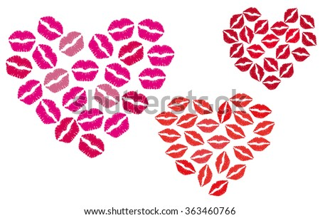 Heart made of Kisses - stock vector