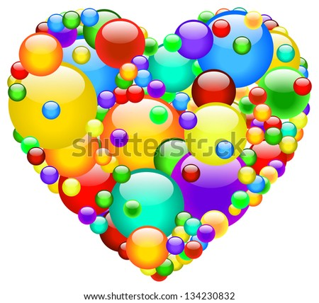 Heart Made Of Multicolored Bubbles - stock vector