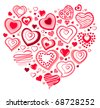 Heart made of red contour heart shapes - stock vector