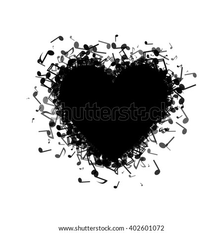 Heart made out of different music notes
