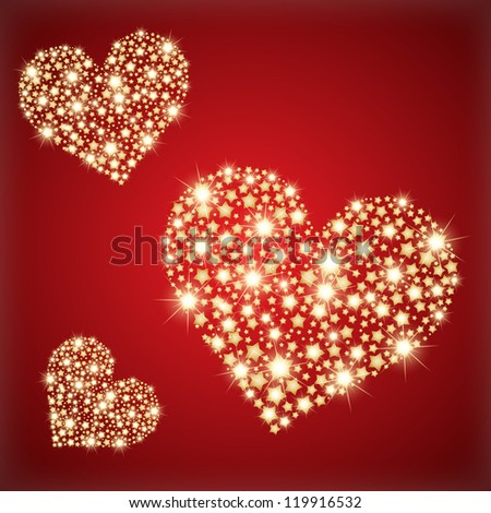 Heart made with golden stras. Vector illustration - stock vector