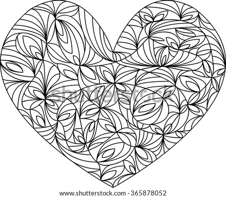 heart mandala adult coloring page template vector