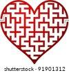 Heart maze. Vector illustration. - stock vector