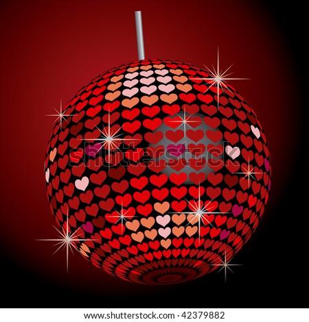Heart Mirror Ball - stock vector