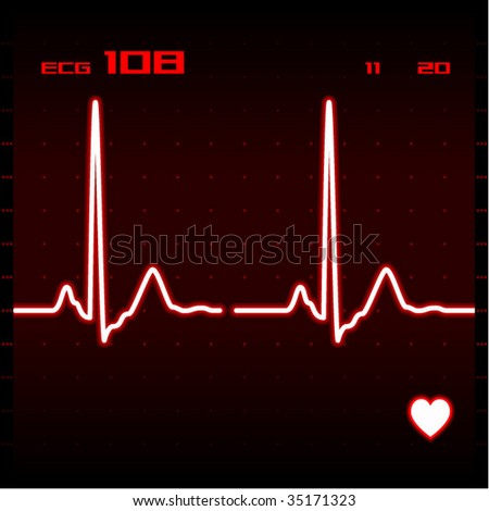 Heart monitor screen showing electrocardiogram signal. Vector illustration. - stock vector