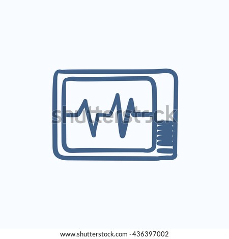 Heart monitor vector sketch icon isolated on background. Hand drawn Heart monitor icon. Heart monitor sketch icon for infographic, website or app. - stock vector