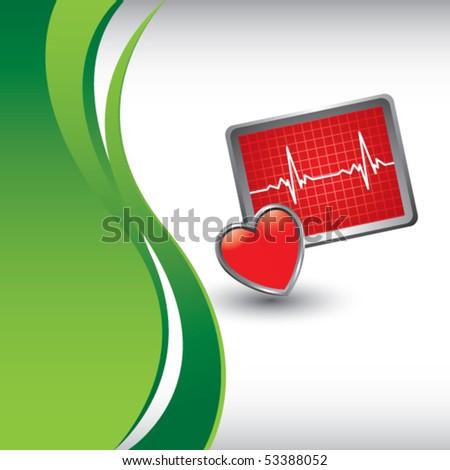 heart monitor vertical green wave - stock vector