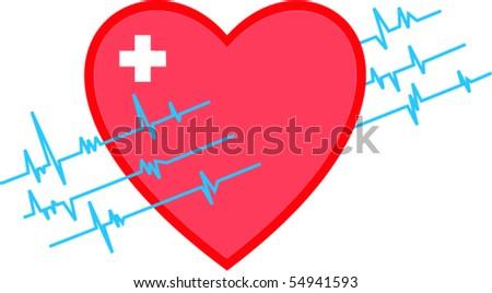 Heart monitoring - stock vector