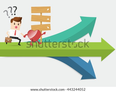 heart navigation businessman running at confused crossroad - stock vector