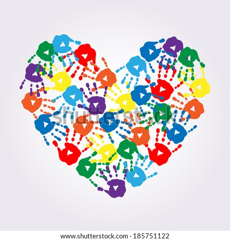 Heart of a colorful hand prints - stock vector