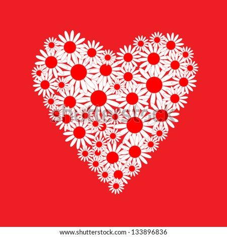 Heart of a white daisies - stock vector