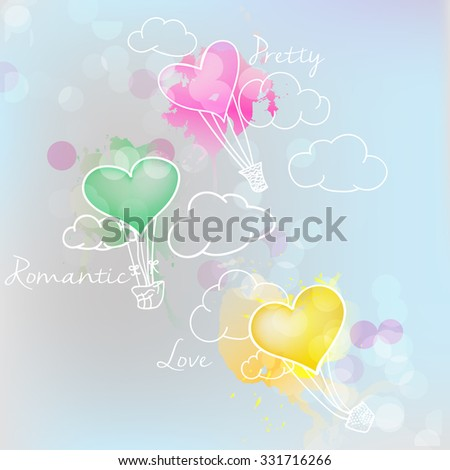 heart of balloons ,with love  - stock vector