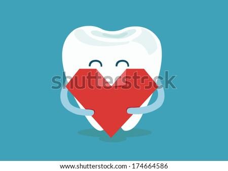 heart of dental - stock vector