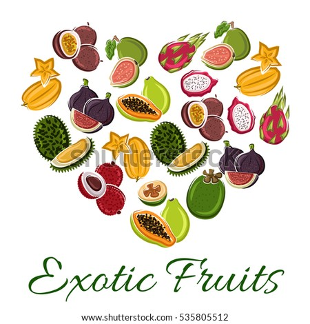 Heart of exotic fruit with cartoon tropical papaya, dragon fruit, carambola, passion fruit, durian, lychee, fig, guava. Love fruit poster for food, juice, vegetarian dessert design.
