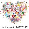 Heart of flowers and butterflies - stock vector