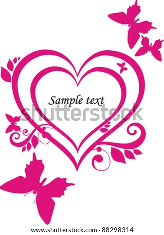 Heart of love. Vintage frame in shape of a heart. Element for design. Vector Illustration - stock vector