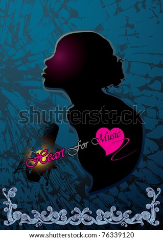 heart of music - stock vector