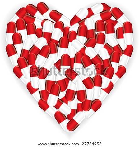 Heart of pills - stock vector