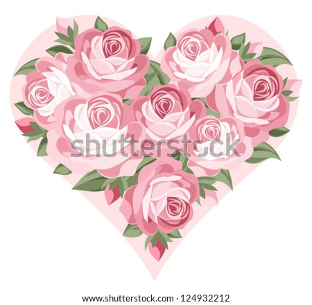Heart of pink roses. Vector illustration. - stock vector