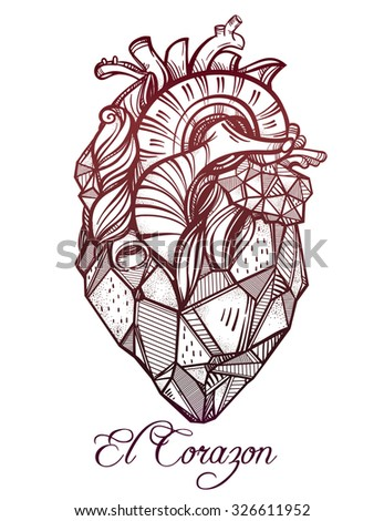 Heart of stone, highly detailed vintage style hand drawn line art. Beautiful tattoo template. Isolated vector illustration, design element.  El Corazon in Spanish means heart.