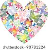 Heart of the butterflies - stock vector