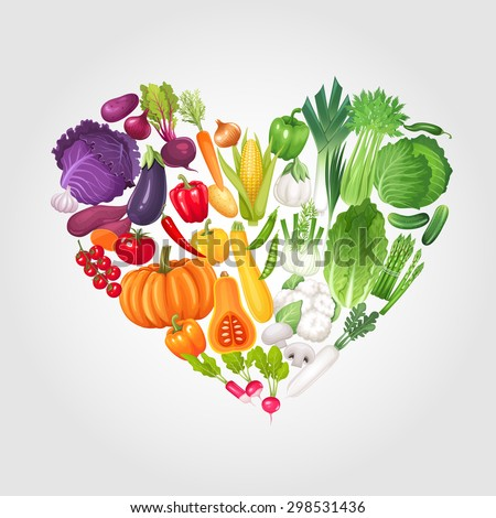 Heart of vegetables. Healthy food vector illustration background. - stock vector