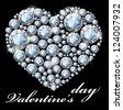 heart of white diamonds. Valentine's Day. vector. - stock vector