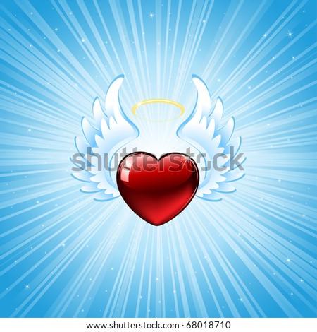 Heart on blue background, illustration - stock vector