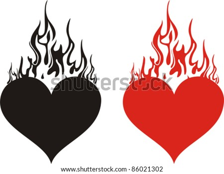 heart on fire isolated on White background. Vector illustration - stock vector