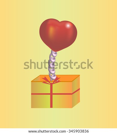 Heart on the spring in a gift box. Card Valentine's Day - stock vector