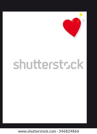 Heart on white page - stock vector