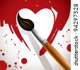 Heart painted with brush, valentine day concept vector illustration. - stock vector