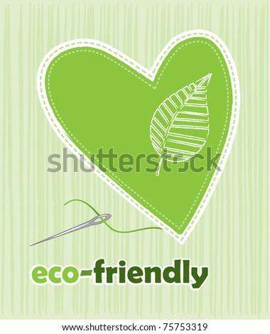 Heart patch with needle - stock vector