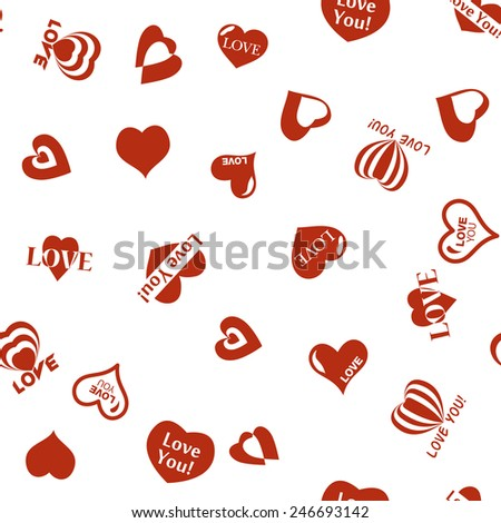 Heart pattern to Valentines Day. Seamless texture with Hearts. Vector icons of hearts
