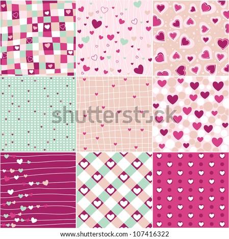 heart patterns - stock vector