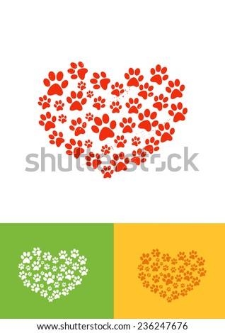 Heart Paw - stock vector