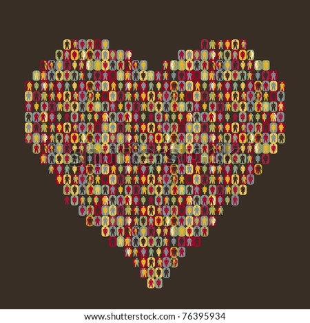 heart - people icon - stock vector