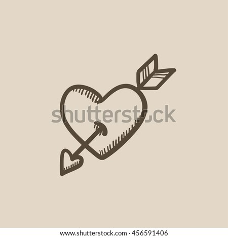 Heart pierced with arrow vector sketch icon isolated on background. Hand drawn Heart pierced with arrow icon. Heart pierced with arrow sketch icon for infographic, website or app. - stock vector