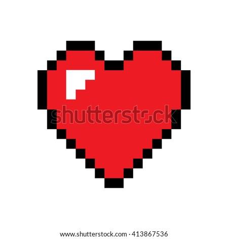 Heart pixel icon . Vector illustration - stock vector
