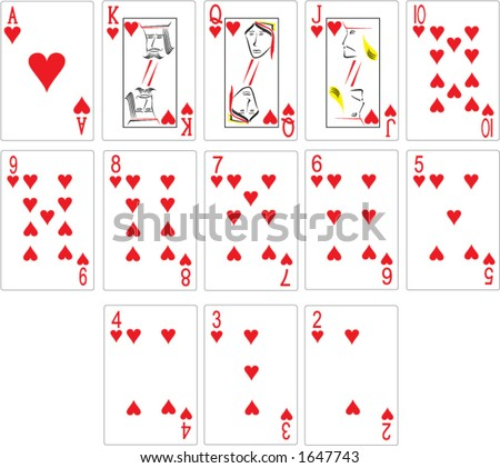 Heart Playing Cards, Vector Format