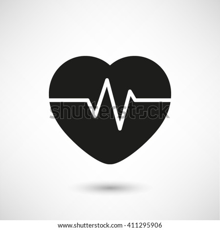Heart Pulse Beat - black vector  icon with shadow - stock vector