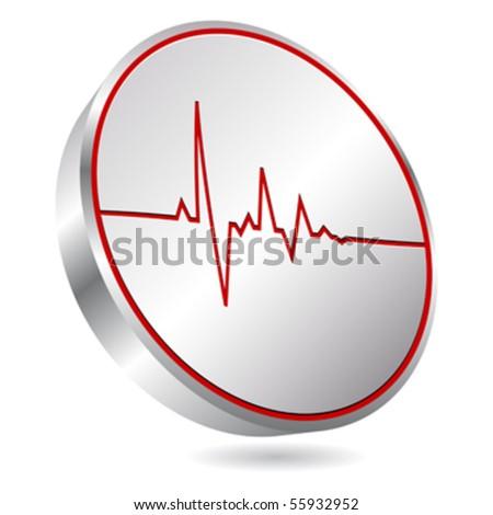 heart pulse icon - stock vector